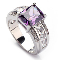 Trendy Dark Amethyst gemstone cute silver Plated ring R619 s...