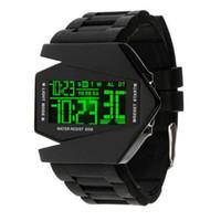Wholesale Led Light Belt Buckle - S5Q Cool Oversized Waterproof Light Digital Sports Quartz Rubber Wrist Watch Men AAAAUW