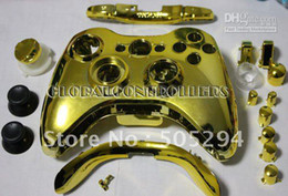 Wholesale Gold Shell Xbox - Wholesale - Free Shipping GOLD CHROME FULL HOUSING SHELL FOR XBOX 360 CONTROLLER,including all parts
