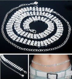 Wholesale Dress Chain Belts - Sexy Belly Belt Waist Chain Czech Rhinestone Crystal Clear Wedding Dress Sashes Belts 1-3 rows