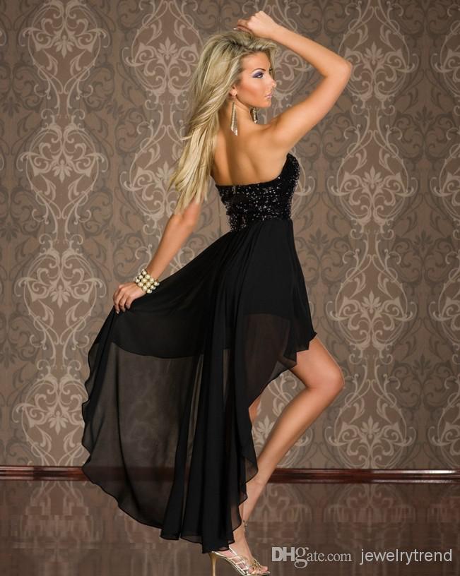 Sexy Club delle donne calde elegante usura Prom Dresses signora Dresses senza spalline con paillettes Cocktail Party fondo irregolare vestito lungo chiffon da Discoteca