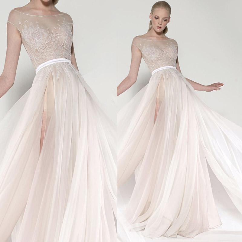 Discount 2017 Hot Sale Wedding Dresses Lace Appliques Sheer Scoop Neckline Front Slit Bridal Dress A Line Princess Open Back Sexy Gown W14110 Prices