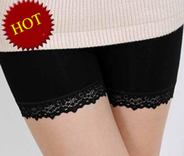 Wholesale Bamboo Boy Shorts - Free shipping 3pcs lot hot Bamboo fiber lace-third of women's underwear pants anti emptied pants ladies underwear Security 86420