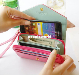 Wholesale Smart Buy Wholesale - Happy & Easy Buy-Donbook multifunctional mobile phone Wallet  coin purse wallets PU candy color Crown Smart Phone Wallet