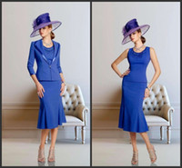 Wholesale Cheap Winter Jackets Sale - 2014 blue satin mother of the bride dresses crew 3 4 long sleeve A-line knee length appllique jacket new arrival hot sale custom made cheap