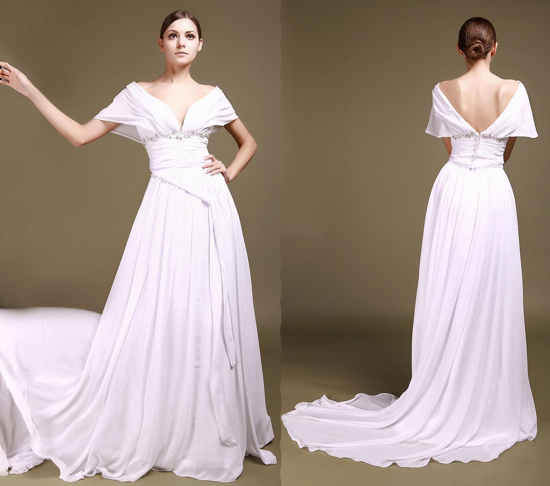 2014 Wedding Dresses Portrait V Neckline Plunging V Back
