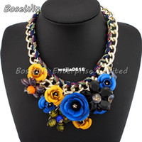 Wholesale Spray Paint Jewelry - 2014 Spring New Design Gold Chain Spray Paint Metal Flower Resin Beads Rhinestones Crystal Bib Necklace Luxury Jewelry CE1744