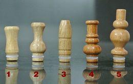 Puntas de goteo de bala online-2014 Nuevo bullet bulbo florero Gyroidal tallado de madera 510 Drip Tip