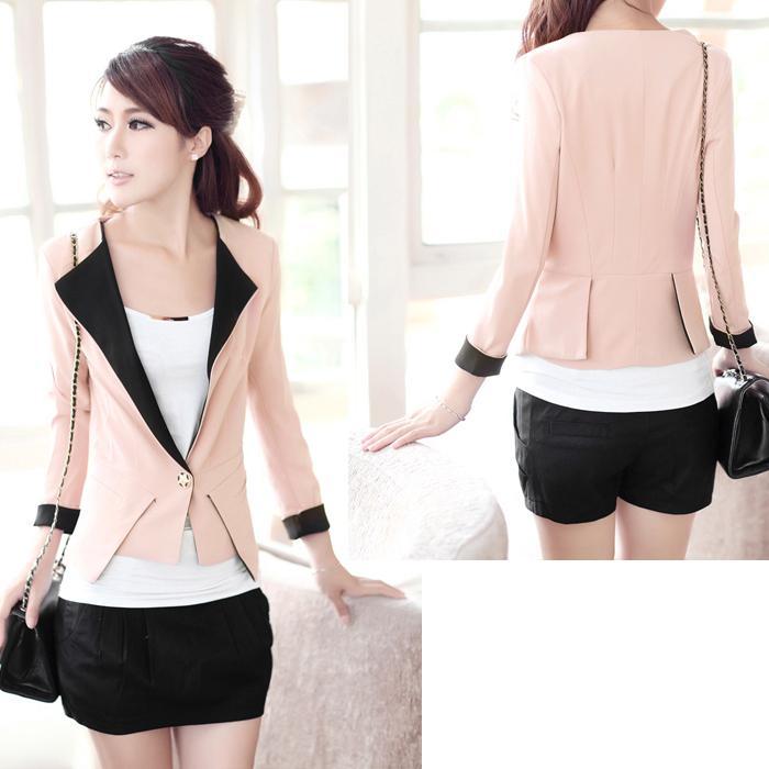 2017 Hot Sale Spring Short Blazer Design Female , Pink Slim All ...