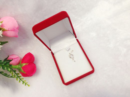 Wholesale Retail Necklace Display - Retail Fashion Jewelry Box Red Velvet Engagement Necklace Container Earrings Pendant Organizer Display Packaging Gift Box