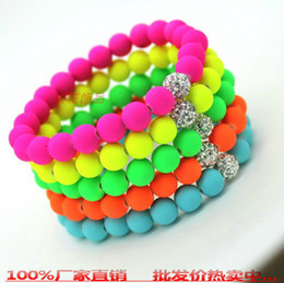 Wholesale Neon Bead Strands - Free Shipping with tracking number Hot Neon Bracelet fluorescence Color Beads Disco Shamballa Ball stand stretch bracelets handcraft jew 912