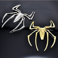 Wholesale Cool Metal Badge - Free shipping NEW Fashion Cool Metal 3D Car Chrome Badge Emblem Sticker Spider Golden