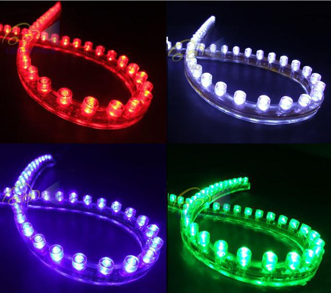 / 48cm 48 LED Scheinwerferstreifen Licht - Rot Blau Weiß