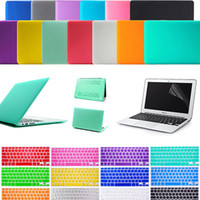 Wholesale Macbook Pro Skin Case - Screen Protector + Silicone Keyboard Skin + Anti Dust Plug Ports Cover Set + Matte Rubberized Hard Case 11.6 Air 13.3 inch 15.4 Pro macbook