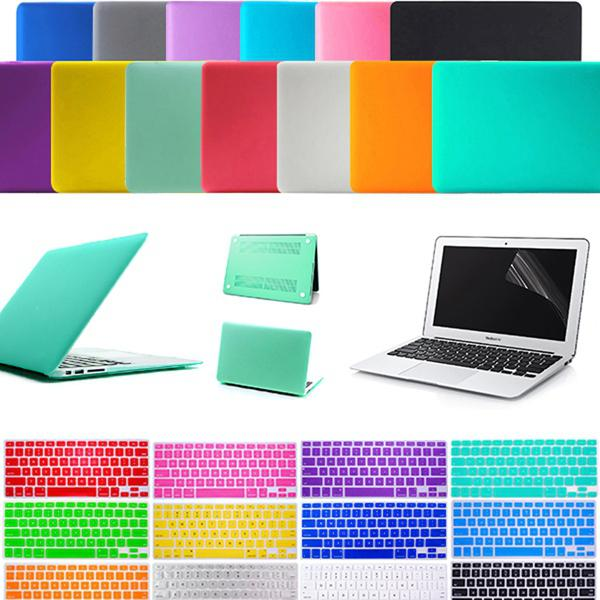 Screen Protector + Silicone Keyboard Skin + Anti Dust Plug Ports Cover Set + Matte Rubberized Hard Case 11.6 Air 13.3 inch 15.4 Pro macbook
