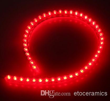 / 2p 48cm flexible bande de lumière de voiture étanche LED PVC - rouge