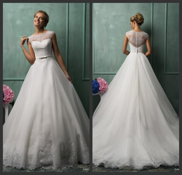2014 Bridal Dress Collection Elegant Tank Style Lace Upper Empire ...