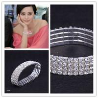 Wholesale Wholesale China Lovers Bracelet - 4-Row Crystal Wedding Jewelry Bracelet Rhinestone Cuff Bangle CZ Waistband