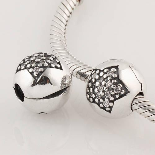 Authentic 925 ALE Sterling Silver Pave Star Clip charm Bead with Cubic Zirconia Fits European Pandora Jewelry Bracelets Necklaces & Pendants