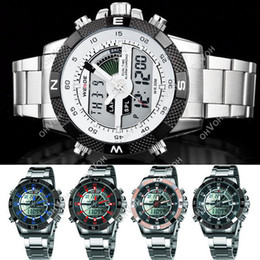 Wholesale Dual Display Lcd - S5Q Luxury Mens Army LCD Dual Display Alarm Chronograph Sport Wrist Watch AAACGD