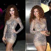 myriam fares sexy vestidos curtos venda por atacado-Luxo 2019 Myriam Fares Ver Através Vestidos de Celebridades Sexy Alta Neck Frisada de Cristal Curto Vestido de Baile Vestidos Cocktail Wear Vestidos
