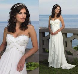 Wholesale Sheath Beach Wedding Dresses - Custom Sheath Beach Wedding Dresses Sweetheart Lace Appliqued Ruffles Sweep Train Chiffon Bridal Dress New Wedding Gowns DL1310186