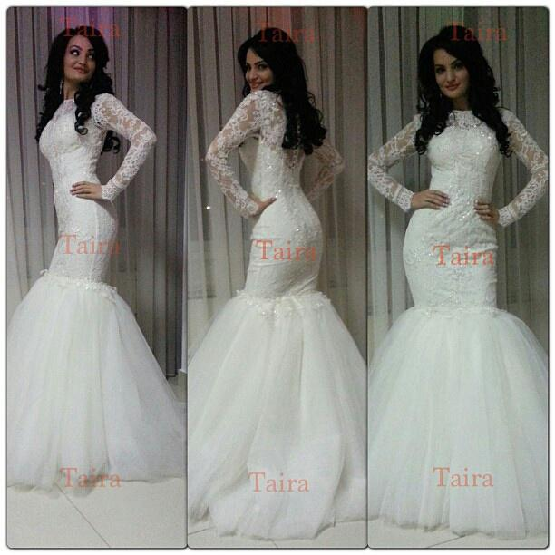 2014 Tulle Long Sleeve Sheer Neck vintage lace Wedding Dresses Applique Pearl Covered Button vestidos Mermaid Sexy Wedding Gowns