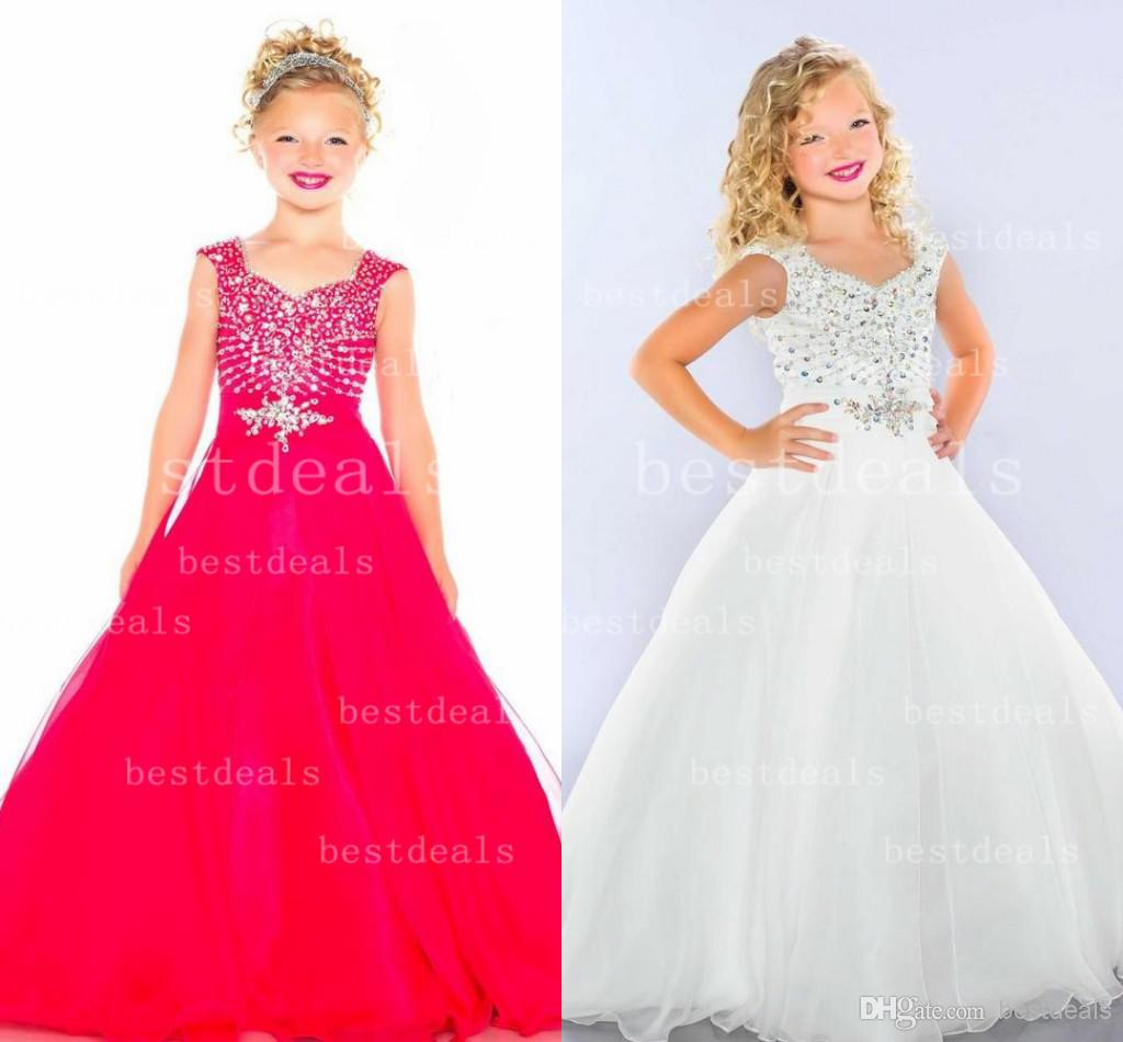 Red White Lovely Girls Pageant Dresses Ruffles Fuchsia Organza Sleeveless Beaded A Line Floor Length 2014 Flower Girl Dresses 43047S