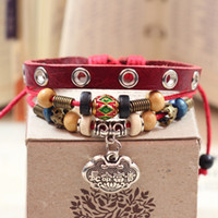 Wholesale Manufacturers Life - Retro fashion leather Long life and alloy bracelet manufacturers supply cheap beaded jewelry ethnic characteristics