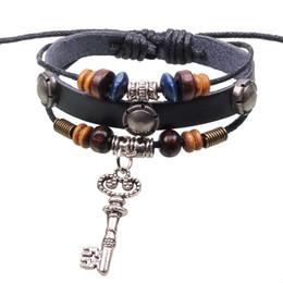 Pulsera de cuero pendiente de la moda boutique de joyería de accesorios de aleación popular retro popular clave desde fabricantes
