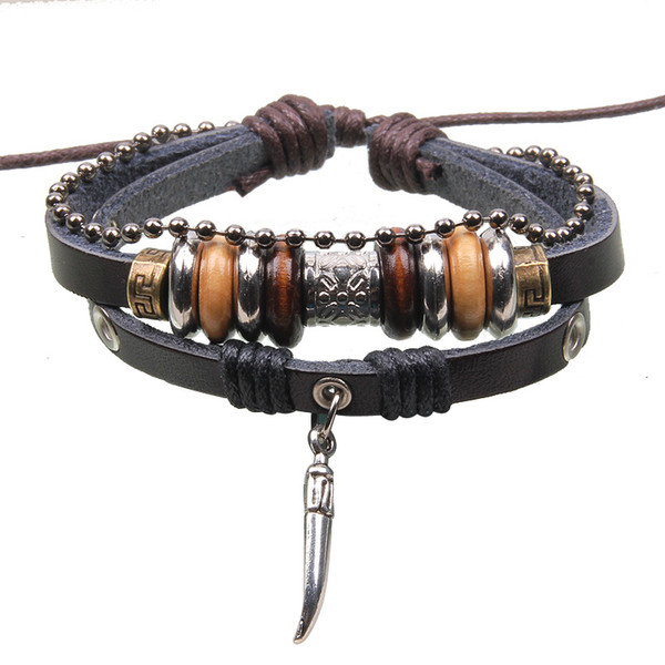 Retro fashion leather Peppers beaded Weave bracelet jewelry wholesale jewelry