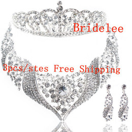 Wholesale Three Crowns Earrings - European and American jewelry bridal necklaces bridal tiara bridal crown three-piece wedding jewelry necklace earrings set