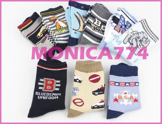 Free Ship 12Styles*7-9T 100% Cotton Boys socks cartoon socks All-match baby socks,kids socks baby socks,Children's Knee-socks,BS013