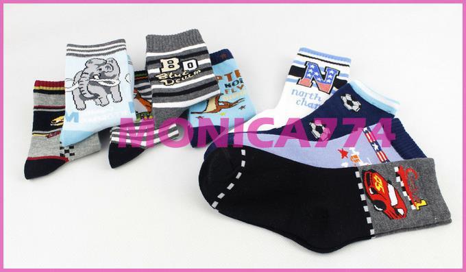 Gratis skepp 12styles * 7-9t 100% Bomull Boys Strumpor Tecknade strumpor All-Match Baby Socks, Kids Socks Baby Socks, Barnens knä strumpor, BS013