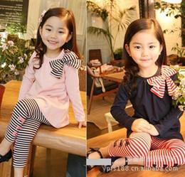 ropa de otoño para niños Rebajas Envío gratis niños clohting conjuntos de otoño de primavera, ropa de niñas, ropa de niños, arco / bowknot traje de raya de manga larga