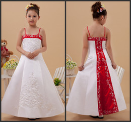 Wholesale Wedding Dress Flower Embroidered - 2016 Flower Girls' Dresses new arrival hot sale Satin Embroider Sewing Bead Flower Girl Dresses Kids Formal Wear