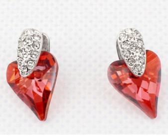 Pendientes colgantes de la lámpara para las mujeres Joyería cristalina del colgante del corazón de Austria con los elementos de Swarovski Envío libre (4 colores) 5810