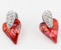 Araña de cristal swarovski online-Pendientes colgantes de la lámpara para las mujeres Joyería cristalina del colgante del corazón de Austria con los elementos de Swarovski Envío libre (4 colores) 5810