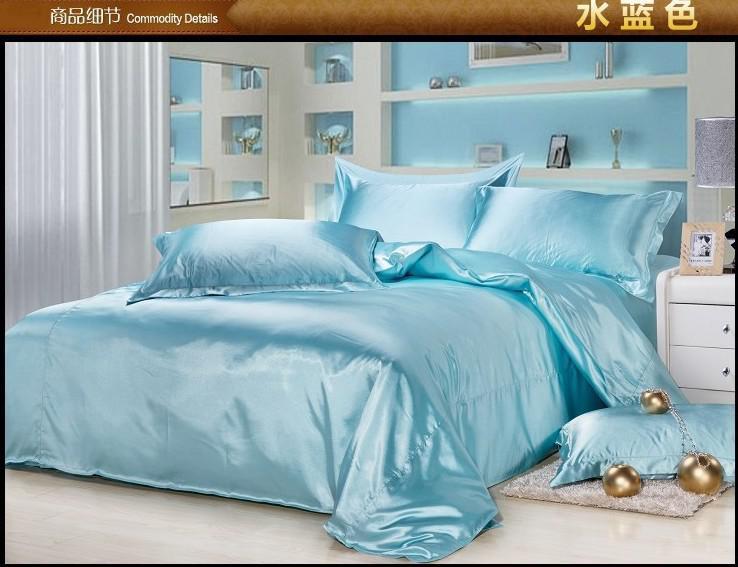 luxury aqua blue silk bedding set king size queen full twin duvet cover quilt bed in a bag sheet. Black Bedroom Furniture Sets. Home Design Ideas