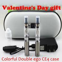 ego double ce4 case venda por atacado-Dia dos namorados presente Duplo eGo CE4 cigarro eletrônico colorido zipper case kit ego com CE4 atomizador 650 mAh 900 mAh 1100 mAh bateria ego t