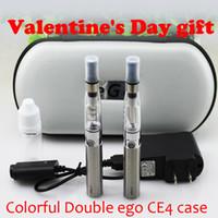 estuche ego doble ce4 al por mayor-Kit del ego de la caja de la cremallera colorida del cigarrillo electrónico eGo CE4 doble regalo de San Valentín con atomizador CE4 650 mAh 900 mAh 1100 mAh ego t batería