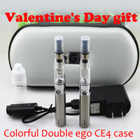 Wholesale Ego Gift Case - Valentine's Day gift Double eGo CE4 electronic cigarette colorful zipper case ego kit with CE4 atomizer 650 mAh 900mAh 1100mAh ego t battery