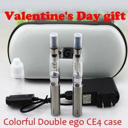 Wholesale Ego Gift Case - Valentine's Day gift Double eGo CE4 electronic cigarette colorful zipper case ego kit with CE4 atomizer 650 mAh 900mAh 1100mAh ego t battery