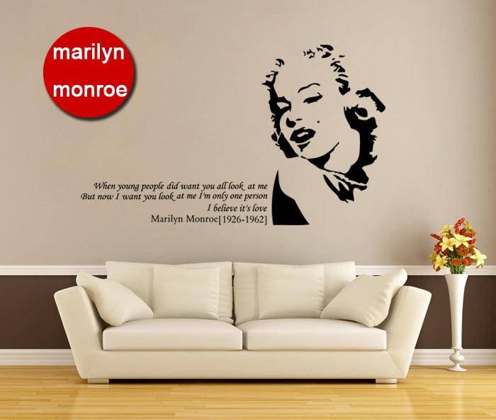 [funlife] 172x101cm(69x40in) Fashion Marilyn Monroe Wall Decals Vinyl Quote  Sticker Home Decoration(L2012294)