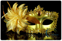 Wholesale black metal women costume for sale - Gold silver Black Feather Half Faces Eye Masks With Lily on Side Masquerade Mardi Gras Venetian Halloween Costume Mask