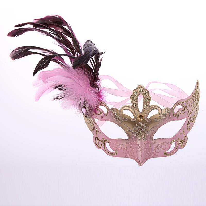 hot sale Venetian Masquerade Pheasant Feather Masks Half Face Masks Ball Party Mix Color