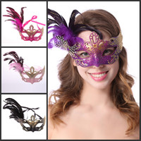 Wholesale Half Masquerade Masks For Sale - hot sale Venetian Masquerade Pheasant Feather Masks Half Face Masks Ball Party Mix Color