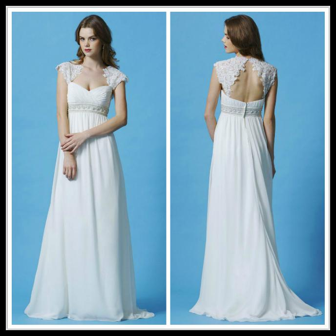 Vintage Sweetheart Cap Sleeve Empire Waist White Wedding Dresses Long Chiffon Summer Beach Bridal Gowns With Lace Beads Open Back Brautkleid Weding ...