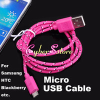 Wholesale USB Data Charge Sync Micro Fabric Weave Cable For Samsung Galaxy S4 S3 Blackberry HTC
