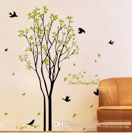 Lime Orange Tree Wall Sticker Green Tree And Birds Wall Decal Living Room  Wall Paper House Wall Stickers Huge Wall Decals From Chinafeeling, $7.17|  Dhgate.